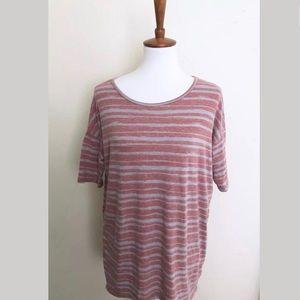 Lularoe Irma striped red gray xxs